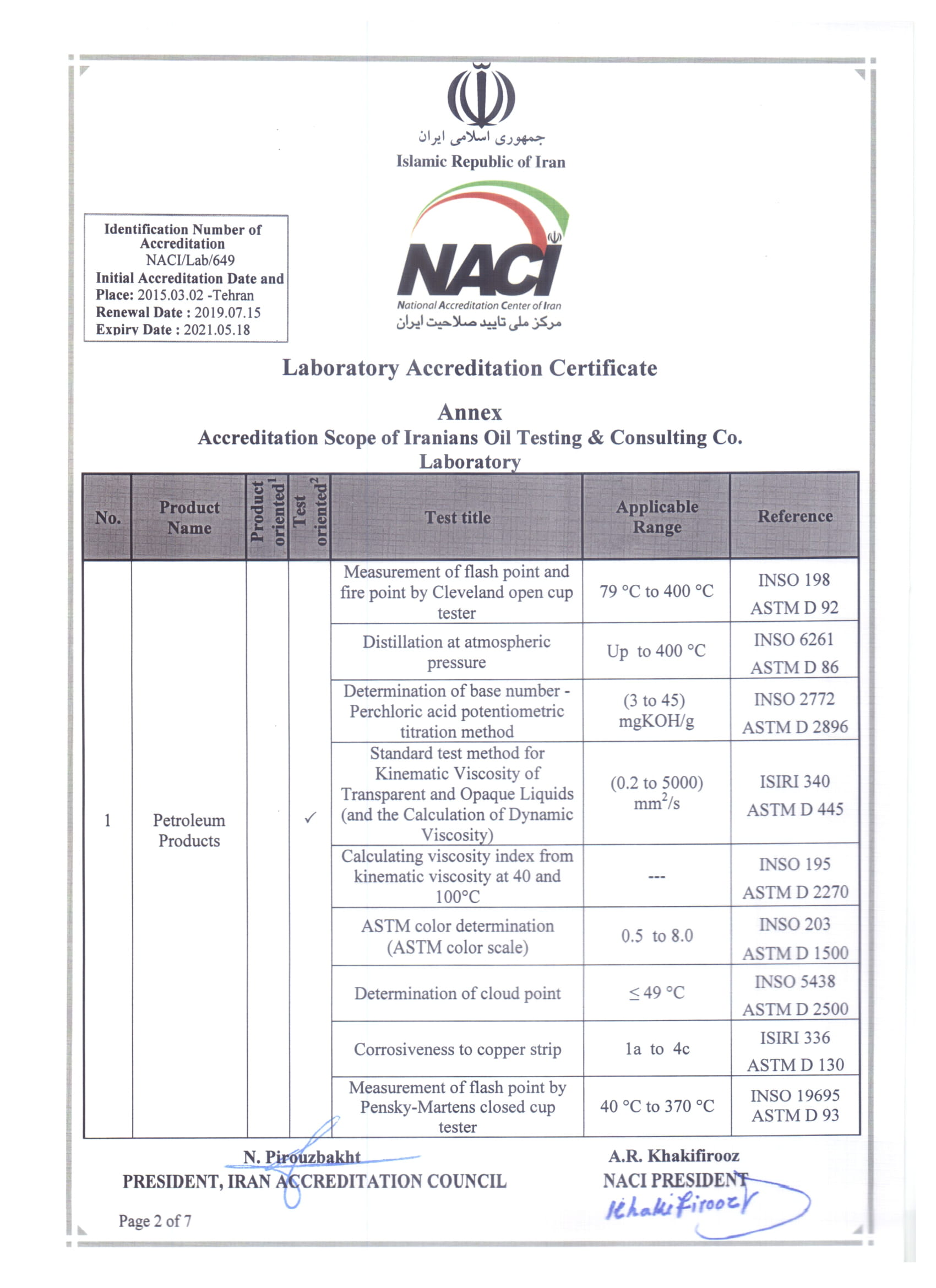 Laboratory Accreditation Certificate ISO/IEC 17025